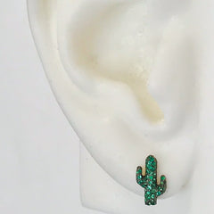 14K Gold Pavé Emerald XS Cactus Stud Earrings ~ In Stock!