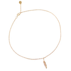 14K Gold Single Feather Ankle Bracelet (Anklet)