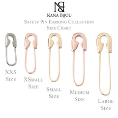 14K Gold XXS Size Safety Pin Earring