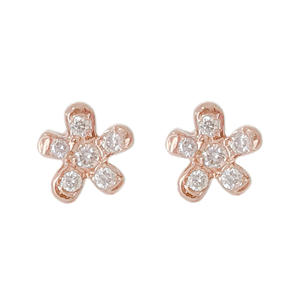 14K Gold Pavé Diamond XS Daisy Flower Stud Earrings