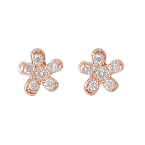 14K Gold & Pavé Diamond XS Daisy Flower Stud Earrings