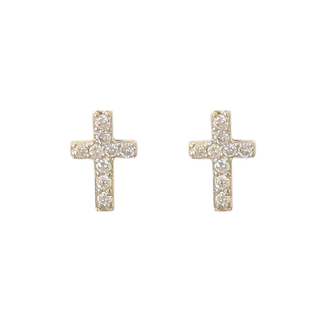 14K Gold & Pavé Diamond XS Cross Stud Earrings