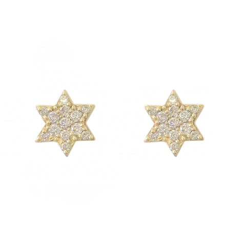 14K Gold & Pavé Diamond XS Star of David Stud Earrings