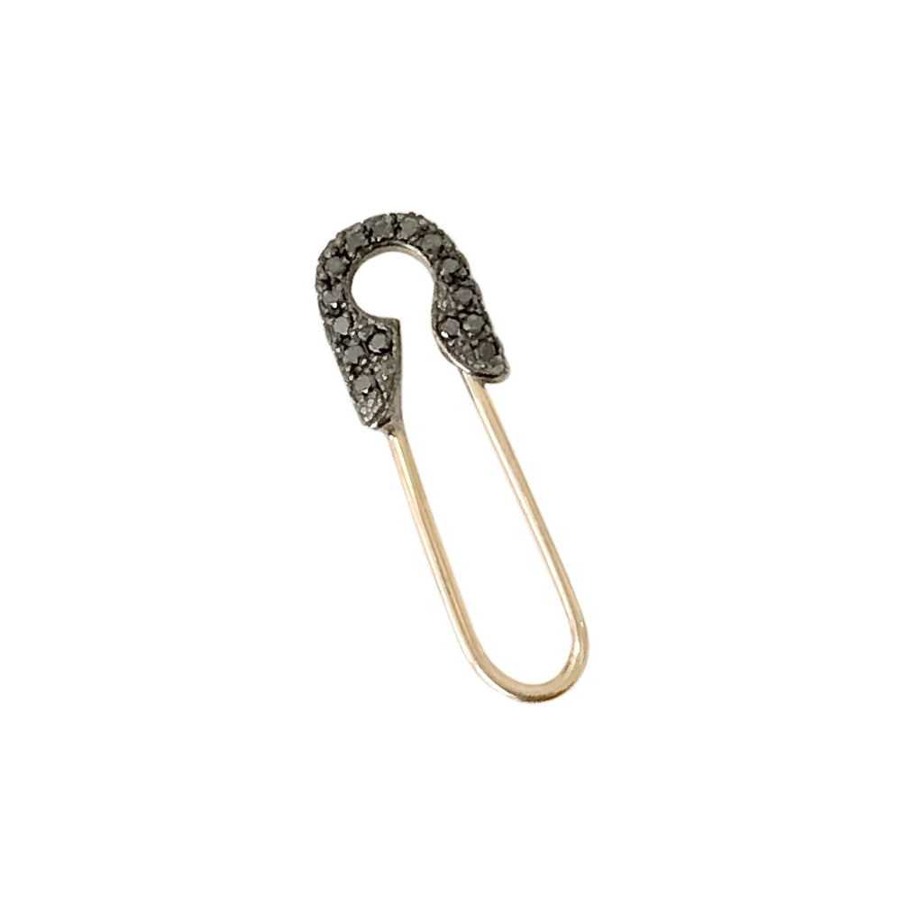 14K Gold Pavé Black Diamond Safety Pin Earring