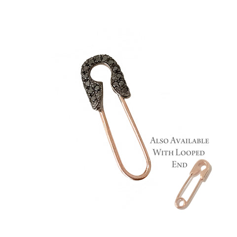 14K Gold Pavé Black Diamond Small Size Safety Pin Brooch