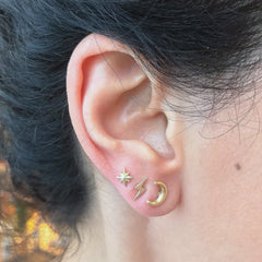 14K Gold XS Starburst Stud Earrings ~ In Stock!