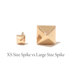 Spike Collection: 14K Gold Pavé Black Diamond Pyramid Spike Stud Earrings, Large Size