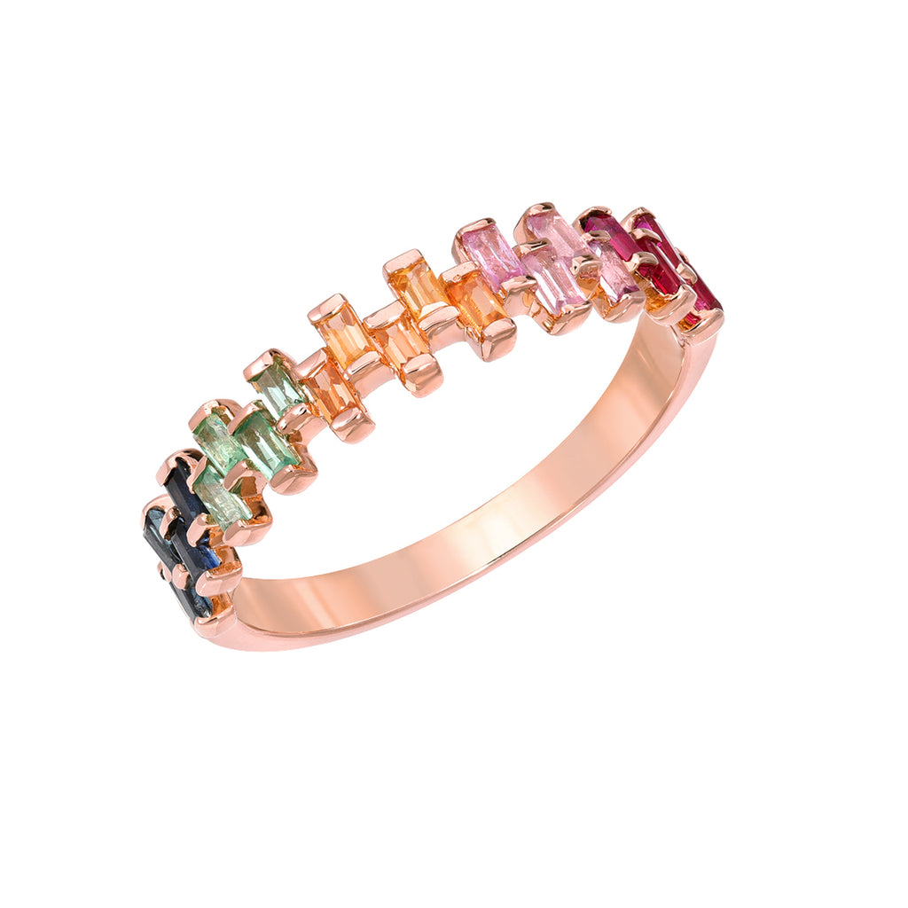 14K Gold Baguette Cut Rainbow Gemstone Half Eternity Band, LIMITED EDITION