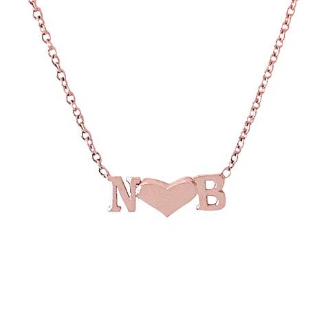 14K Gold Double Initial Sweetheart Charm Pendant Necklace