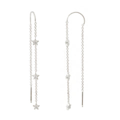 14K Gold & Triple Diamond Star Threader Chain Earrings