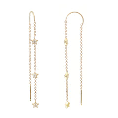 14K Gold Triple Diamond Star Threader Chain Earrings