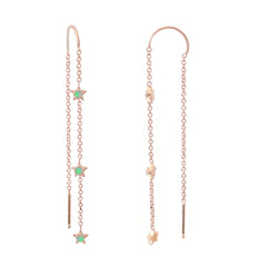14K Gold Triple Opal Star Threader Chain Earrings