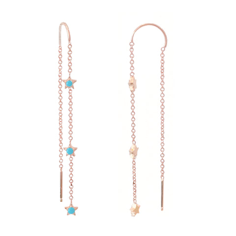 14K Gold Triple Turquoise Star Threader Chain Earrings