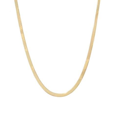 14K Gold Herringbone Chain Necklace ~ 3mm Width