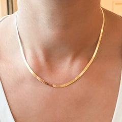 14K Gold Herringbone Chain Necklace, 3mm Width ~ In Stock!