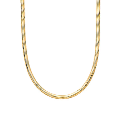 14K Gold Round Omega Chain Necklace ~ 4.75mm Width