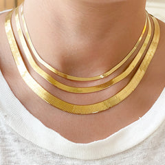 14K Gold Herringbone Chain Necklace, 4mm Width ~ In Stock!