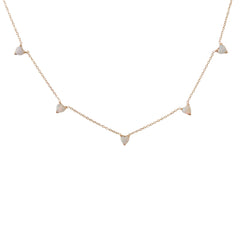 14K Gold Opal Heart 5 Charm Necklace