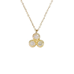 14K Gold Diamond 5 Trinity Ball Dangle Charm Necklace