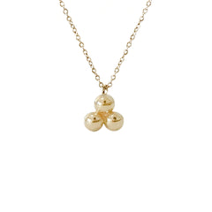 14K Gold Trinity Ball Dangle Charm Necklace