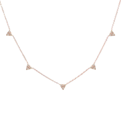 14K Gold & Diamond 5 Trinity Cluster Charm Necklace