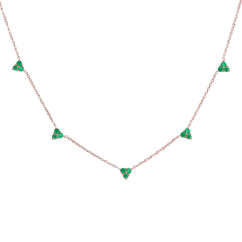 14K Gold Emerald 5 Trinity Cluster Charm Necklace