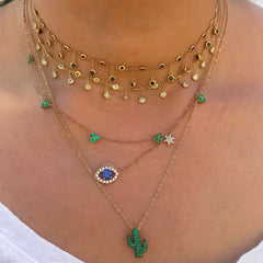 14K Gold & Pavé Emerald Cactus Necklace
