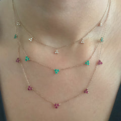 14K Gold & Ruby 5 Trinity Cluster Charm Necklace