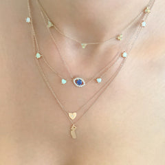 14K Gold Opal 5 Trinity Cluster Charm Necklace