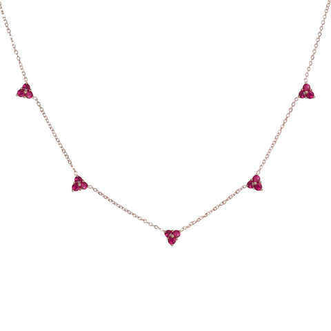 14K Gold Ruby 5 Trinity Cluster Charm Necklace