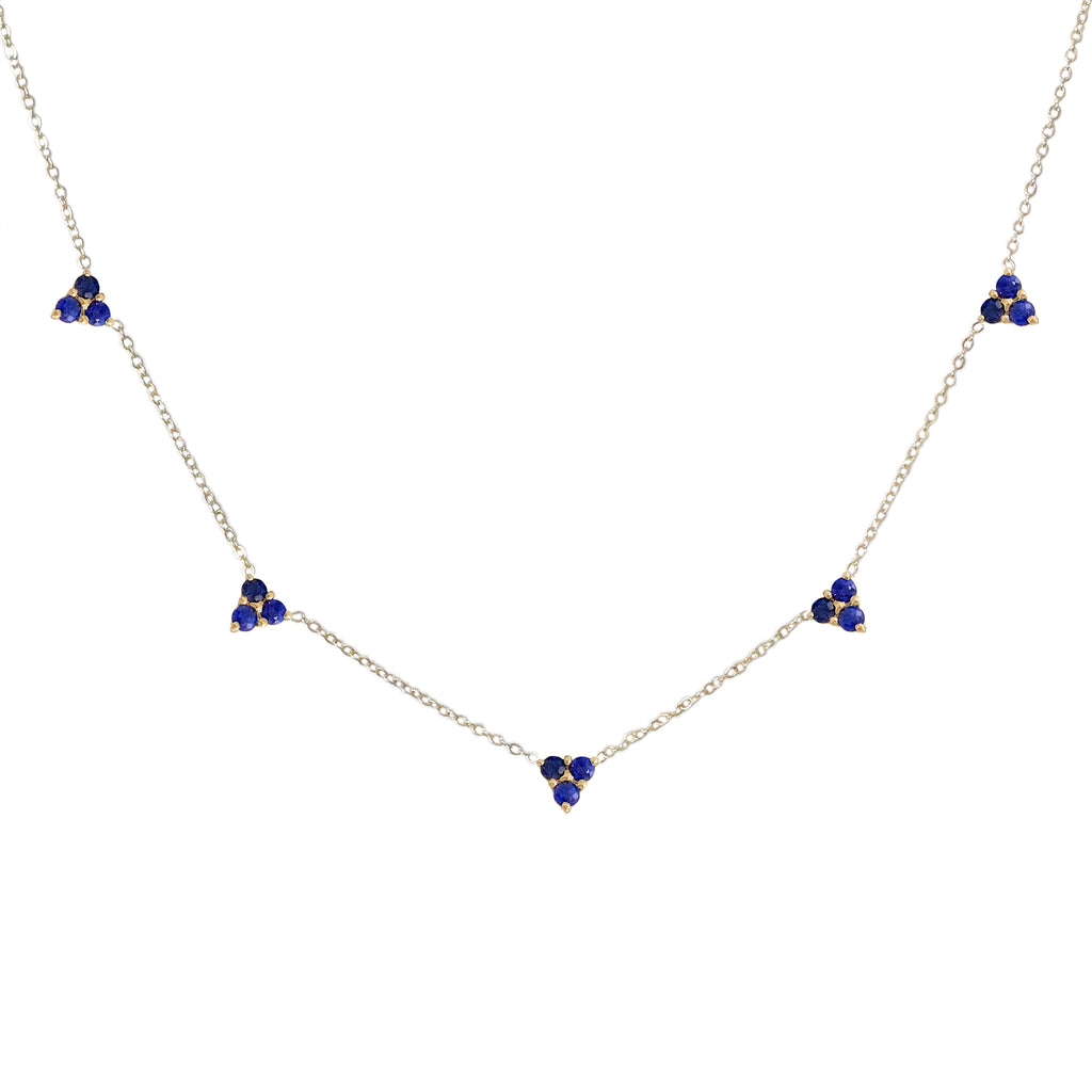 14K Gold & Sapphire 5 Trinity Cluster Charm Necklace
