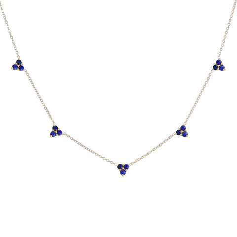 14K Gold Sapphire 5 Trinity Cluster Charm Necklace