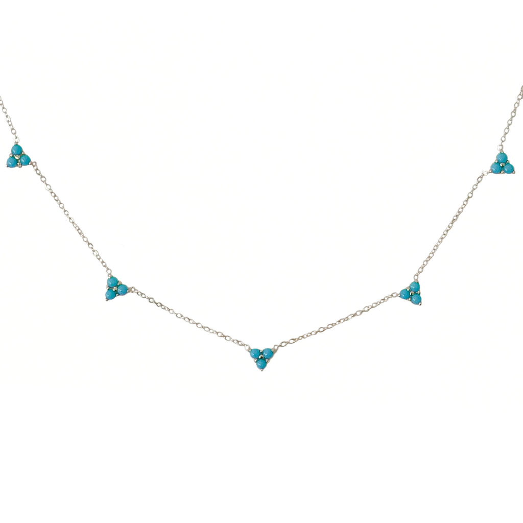 14K Gold & Turquoise 5 Trinity Cluster Charm Necklace