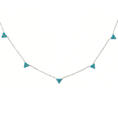 14K Gold Turquoise 5 Trinity Cluster Charm Necklace