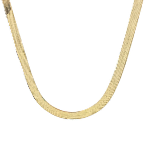 14K Gold Herringbone Chain Necklace ~ 6.75mm Width