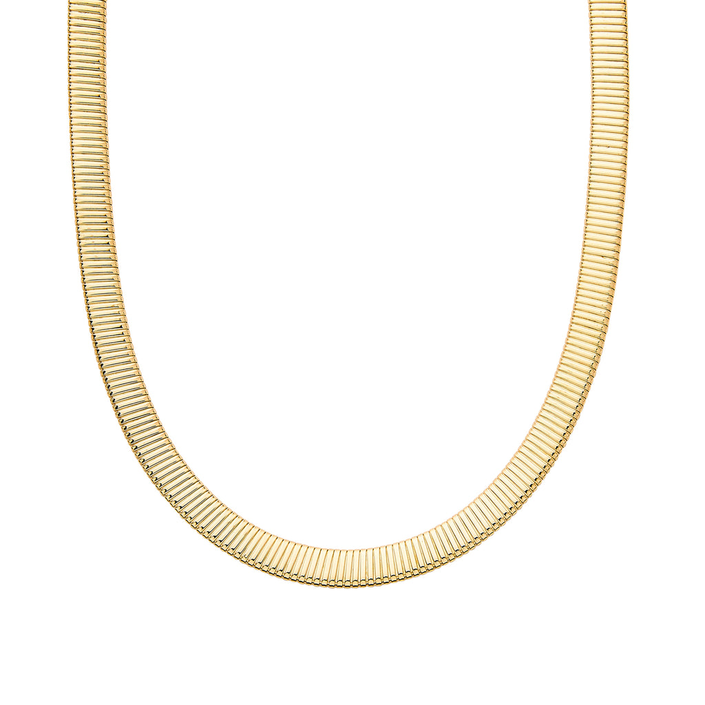 14K Gold Flat Omega Chain Necklace ~ 8mm Width