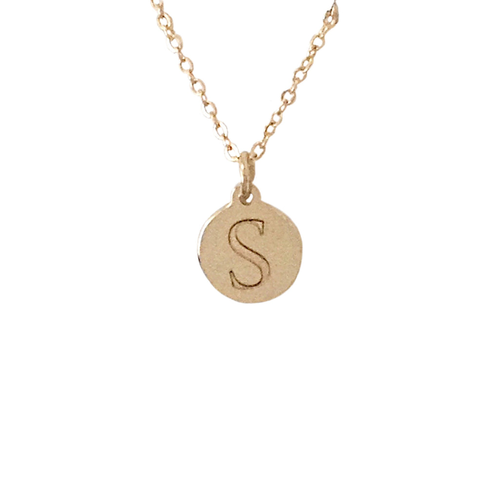 14K Gold XS Initial Coin Necklace