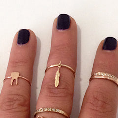 14K Gold XS Feather Dangle Charm Ring