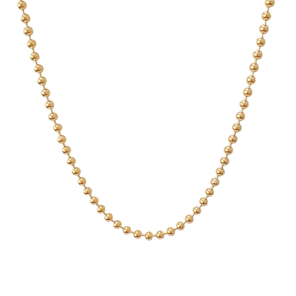 14K Gold Ball Chain Necklace, 3mm Size