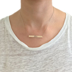 14K Gold Engravable Bar Pendant Necklace with Diamond Accent