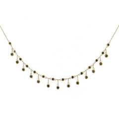 14K Gold & Black Diamond Fringe Choker Charm Necklace