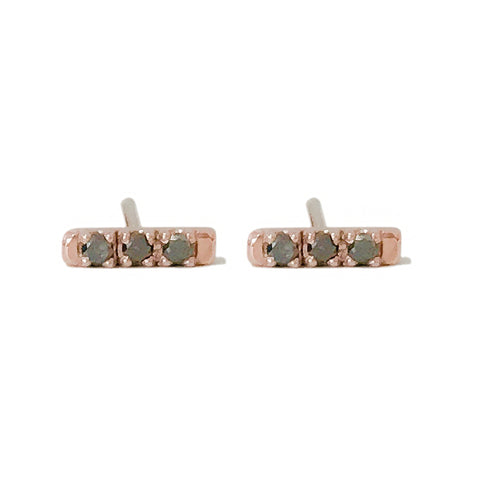 14K Gold XS Pavé Black Diamond Bar Stud Earrings