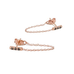 14K Gold Pavé Black Diamond XS Bar Chain Dangle Stud Earrings
