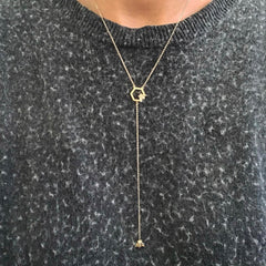 14K Gold Busy Bumblebee Lariat Drop Necklace