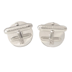 Sterling Silver Initial Letter Cameo Engraved Coin Cufflinks