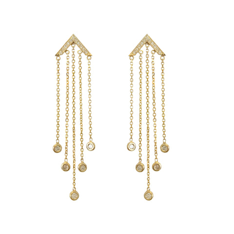 14K Gold & Diamond Fringe Dangle Chevron Stud Earrings