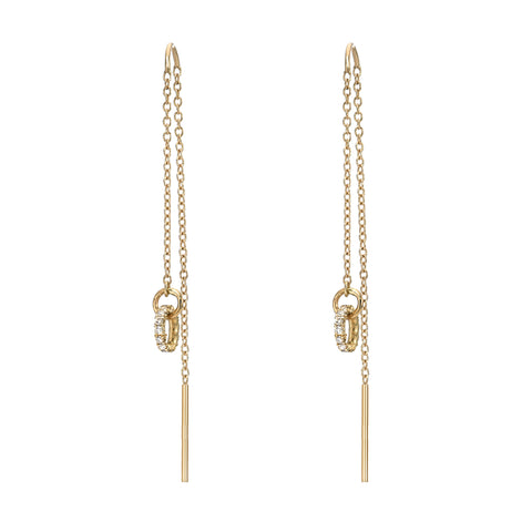 14K Gold Petite Diamond Halo Threader Chain Earrings ~ LIMITED EDITION