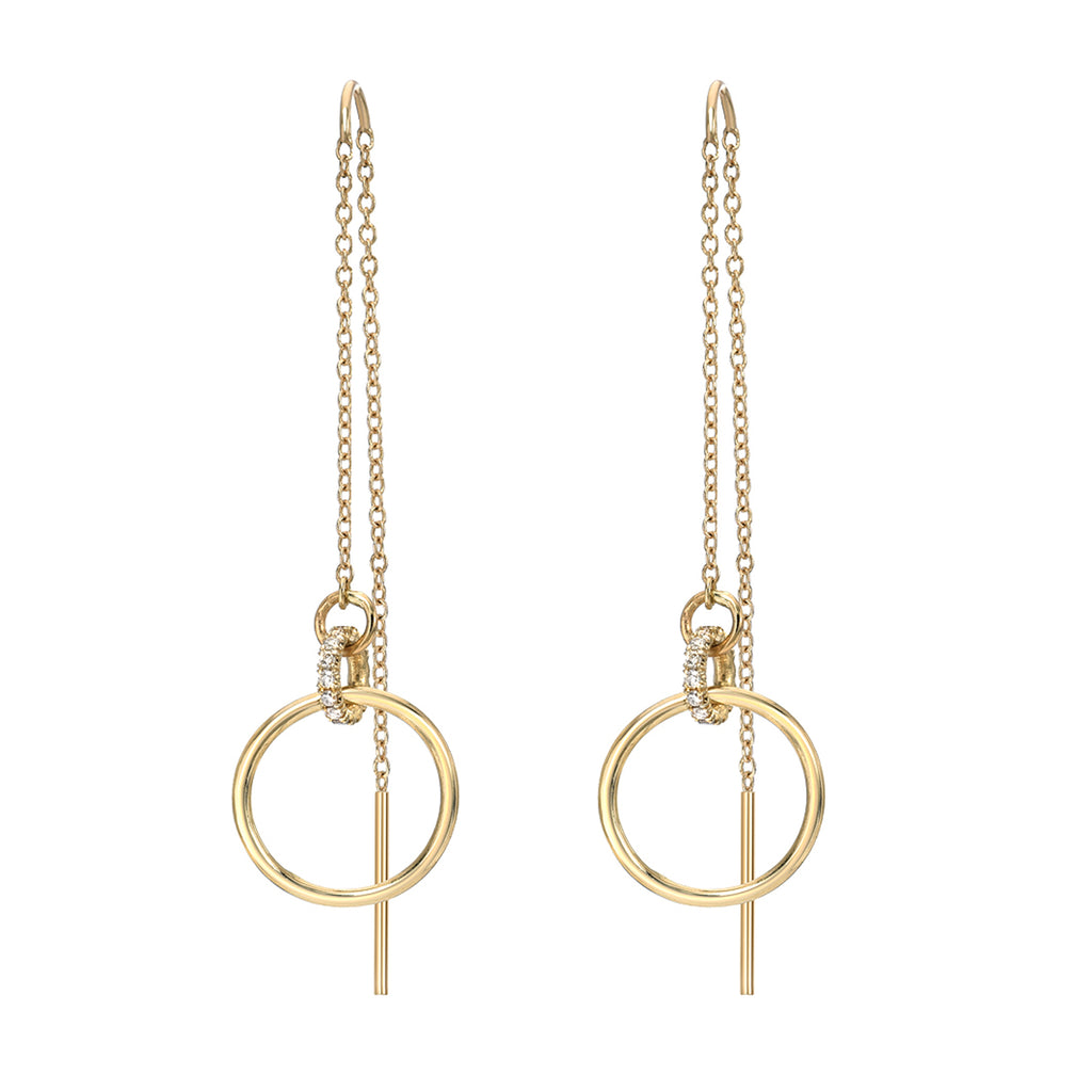14K Gold Circular Diamond Threader Chain Earrings