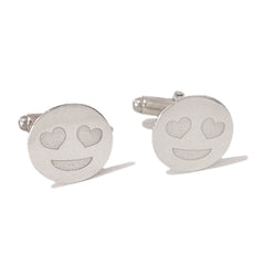 Sterling Silver 'Crazy In Love' Emoji Smiley Face Cufflinks