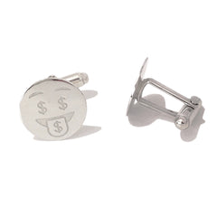 Sterling Silver 'Crazy Money' Emoji Smiley Face Cufflinks